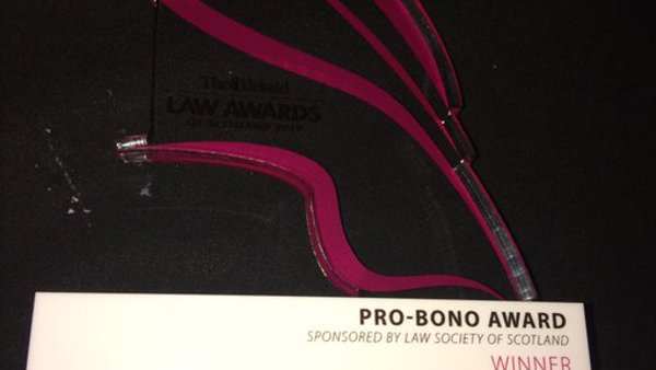 Clan Childlaw wins Pro-Bono Award at The Herald Law Awards of Scotland 2019